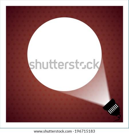 Spotlight projecting to blank wall vector - stock vector