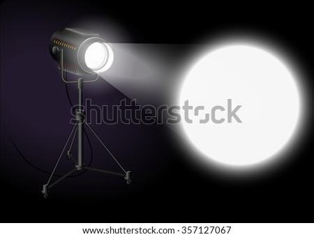 Spotlight shines bright spot on the wall - stock vector
