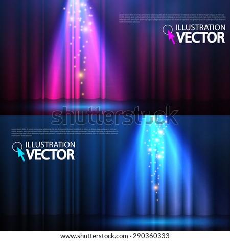 Spotlights & empty scene set. Vector illustration - stock vector