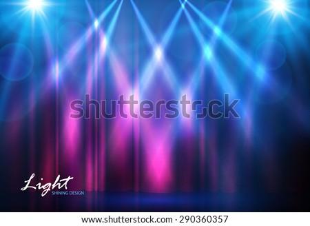 Spotlights & empty scene. Vector illustration - stock vector