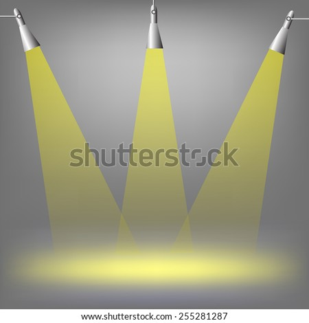 Spotlights on dark  background. Place for exhibit. Abstract image of concert lighting. Graphic Design Useful For Your Design.Spotlight background with lamps. - stock vector
