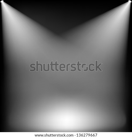 Spotlights on stage - stock vector
