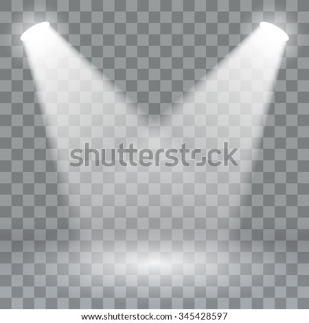 Spotlights scene light effects. Stage light spotlight vector. Vector illustration - stock vector