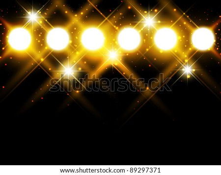 spotlights with stars over dark background, copyspace - stock vector