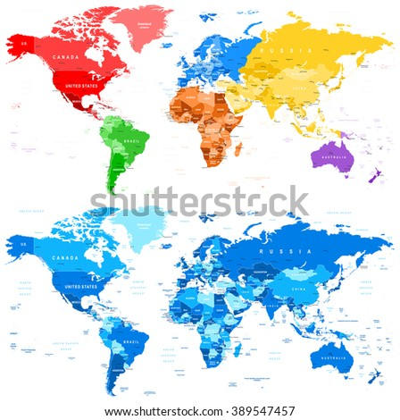 Spotted Color and Blue World Map - borders, countries and cities - illustration  Image contains next layers: - land contours - country and land names - city names - water object names  - stock vector