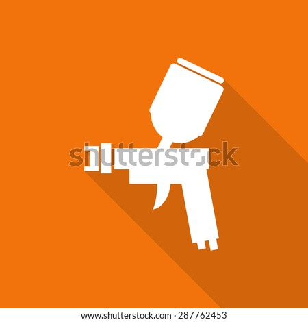 spray gun painting tool flat icon with long shadow. - stock vector