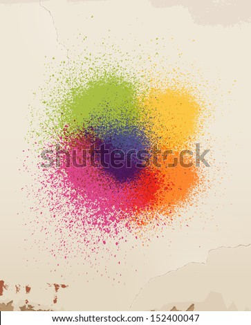 Spray paint & old wall. Eps 10 - stock vector