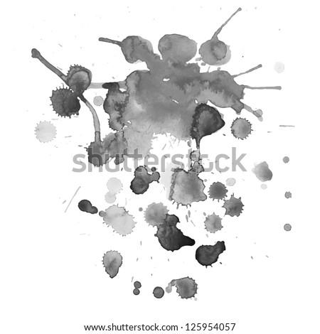 Spray vector paint, watercolor splash background, black and white texture - stock vector