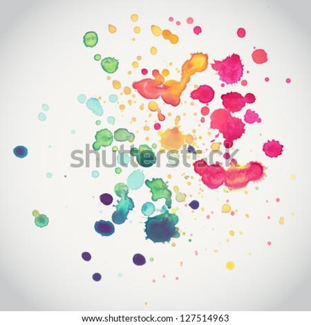 Spray vector paint, watercolor splash background,colorful paint drops texture - stock vector
