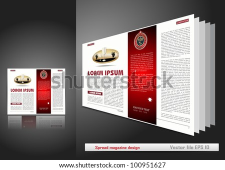 Spread magazine design - stock vector
