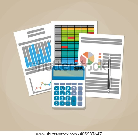 Spreadsheet concept. Business background with financial reports, calculator and pen. vector illustration in flat design on brown background - stock vector