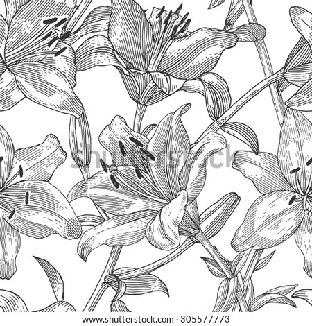 Sprigs of blooming lily. Engraved seamless pattern - stock vector