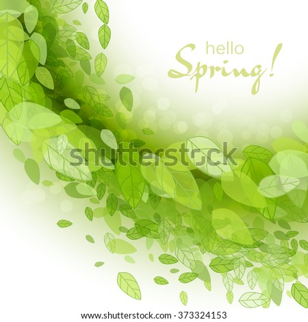Spring abstract background. Vector illustration. Design element with green leaves. Spring season, spring wallpaper, spring time, spring design, spring text,spring lettering - stock vector