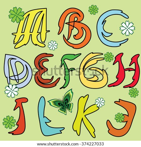 Spring alphabet with colorful english letters on light green background - stock vector