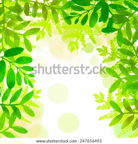 Spring and summer square frame with bright green tropical leaves. Vector watercolor illustration. Backdrop for seasonal sales, promo, announcements, etc. - stock vector