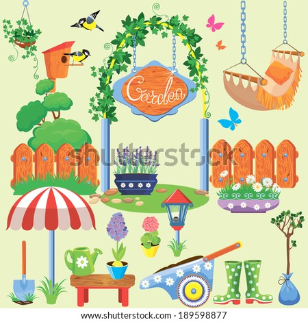 Spring and summer village and garden set with flowers, agriculture tools and equipment - stock vector