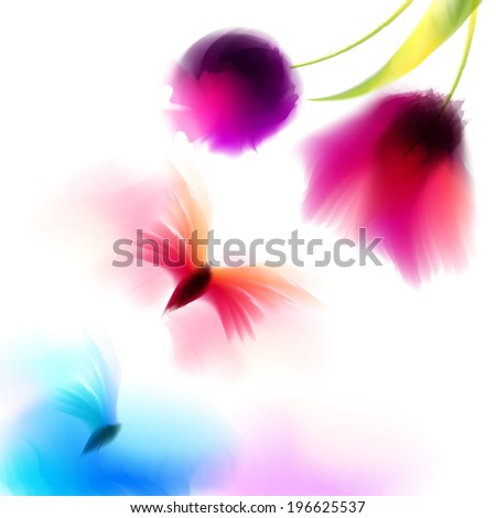 Spring and summer watercolor background vector  - stock vector