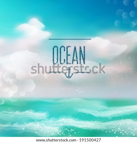Spring and summer watercolor ocean background with shining sparks and bokeh. Vector Illustration, Graphic Design Editable For Your Design.  - stock vector