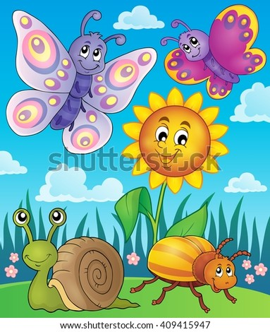 Spring animals and insect theme image 3 - eps10 vector illustration. - stock vector