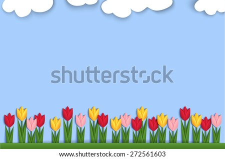 Spring background decorated with paper tulips. Horizontal background decorated with colorful origami tulips. Vector - stock vector