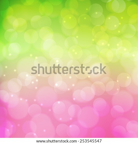 Spring background.  Green and pink colors. Vector illustration - stock vector