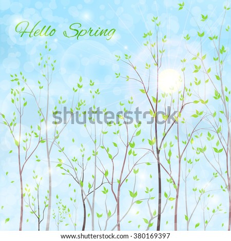 spring background - green trees and sun on blue sky background, vector illustration - stock vector