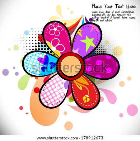 Spring Background with a flowers and leaf - stock vector