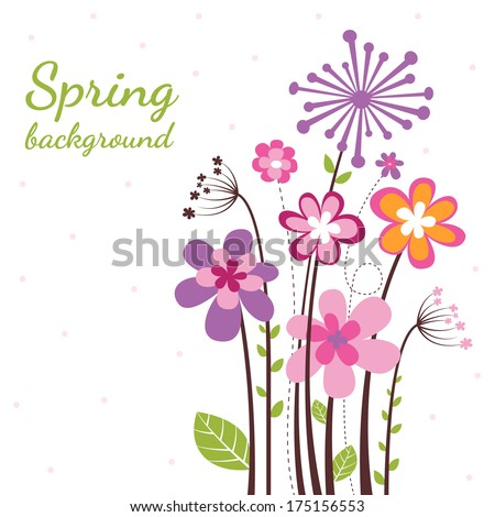 Spring background with a lot of nice flower - stock vector