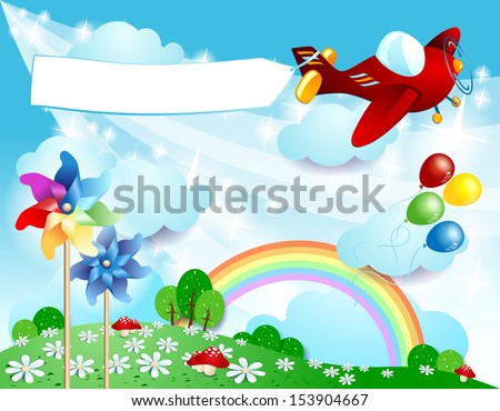Spring background with airplane and banner, vector - stock vector
