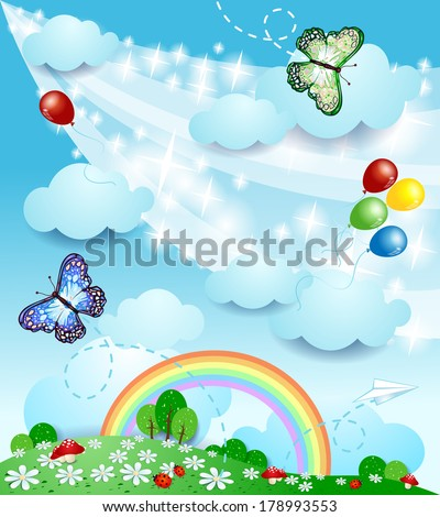 Spring background with butterflies, vector - stock vector