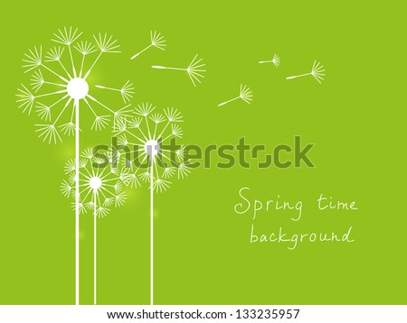 Spring background with dandelions on green - stock vector