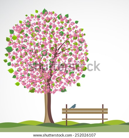 Spring background with flowering tree. - stock vector