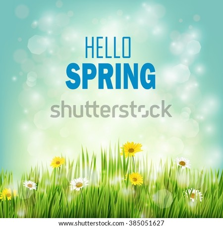 Spring background with flowers daisies in grass.Vector - stock vector