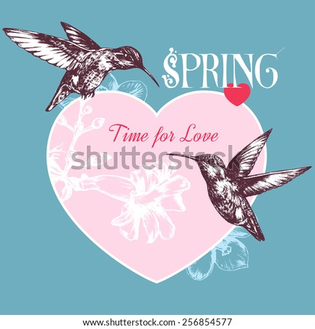 Spring background with hummingbirds, flowers and hearts - stock vector