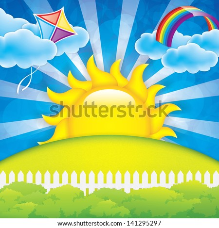 Spring background  with kite and rainbow - stock vector