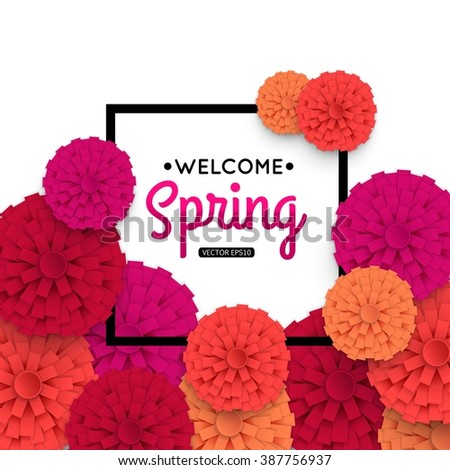 Spring Banner with colorful paper flower and black frame. Vector eps10 format. - stock vector