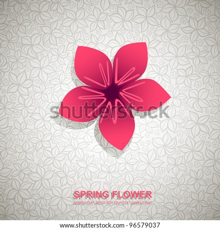 Spring banner with paper flower on ornamental background - stock vector