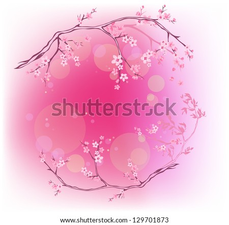 spring blooming background (EPS10 vector, transparency used for bokeh on separate layer) - other seasons are available in my portfolio - stock vector