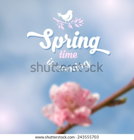Spring blurred background with beautiful cherry blossom and blue sky. Vector illustration. - stock vector