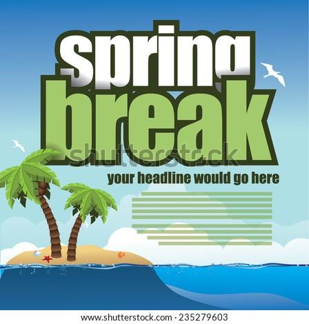 Spring break palm trees background EPS 10 vector stock illustration - stock vector