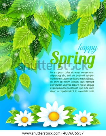Spring, bright blue background, light leaves, chamomile flowers. The text block. Vector illustration - stock vector
