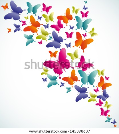 Spring butterfly colorful composition. Vector illustration layered for easy manipulation and custom coloring. - stock vector