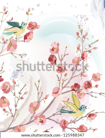 Spring card in watercolor technique with singing birds on branches of a blossoming tree. EPS8 - stock vector
