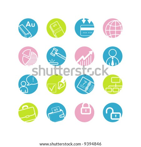 spring circle business icons - stock vector