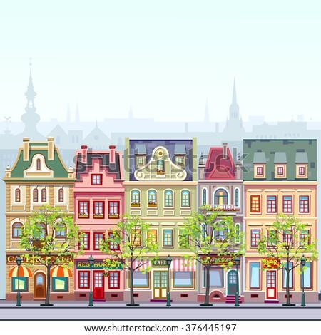 spring  city landscape - stock vector