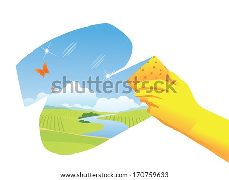 Spring Cleaning Background. EPS 10 vector, grouped for easy editing. No open shapes or paths. - stock vector