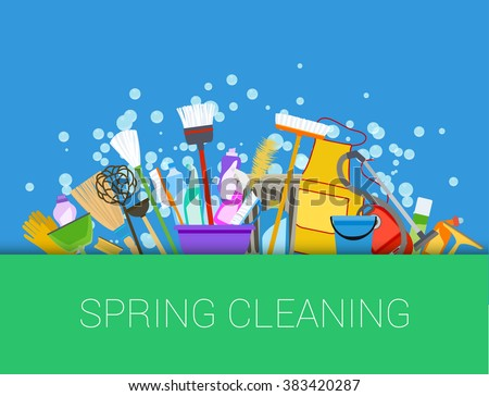 Spring cleaning background. Set of cleaning supplies. Tools of housecleaning. Vector - stock vector