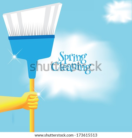 Spring cleaning broom background. EPS 10 vector, grouped for easy editing. No open shapes or paths.  - stock vector