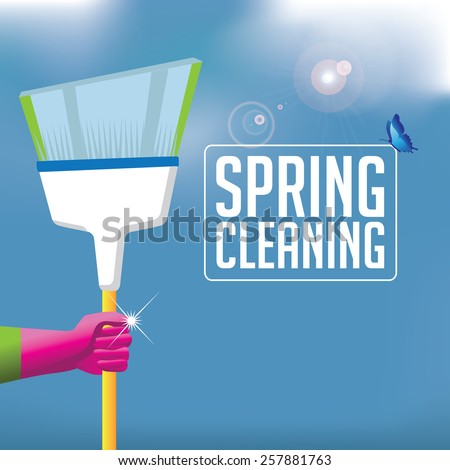 Spring cleaning broom background. EPS 10 vector royalty free stock illustration for ad, promotion, poster, flier, blog, article, social media, marketing, brochure, signage, supplies, retail, more - stock vector