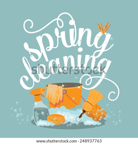 Spring Cleaning cheerful flat design EPS 10 vector royalty free stock illustration - stock vector